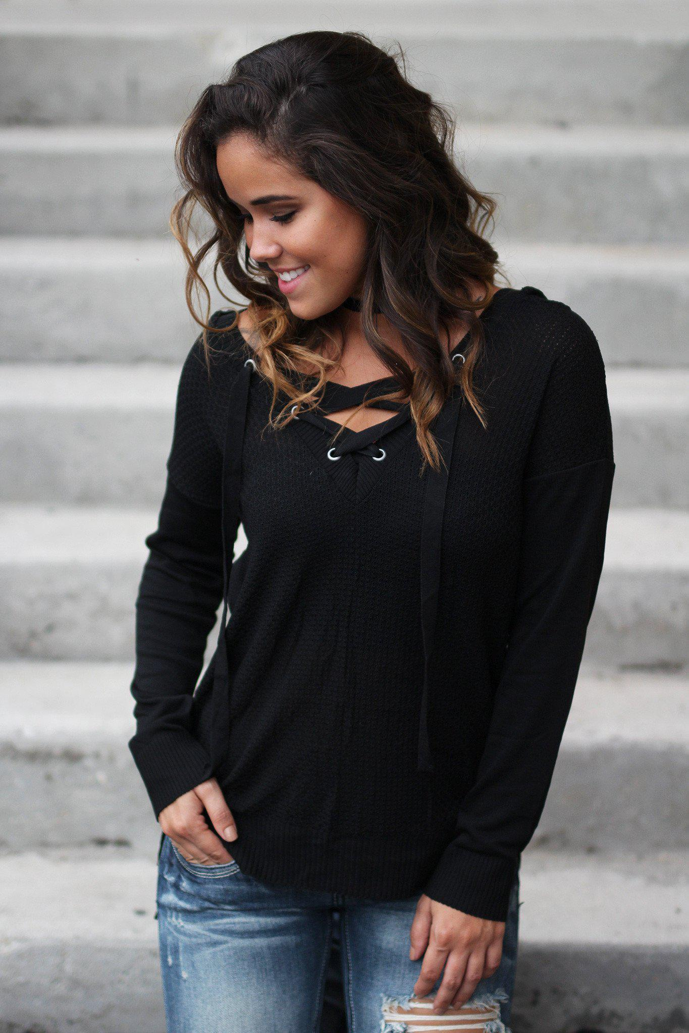 Black Lace Up Hoodie