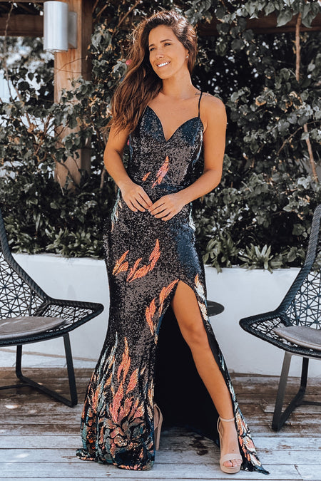 Black Iridescent Maxi Dress with Side Slit