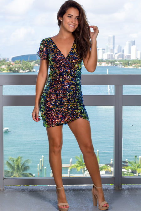 Black Iridescent Short Dress