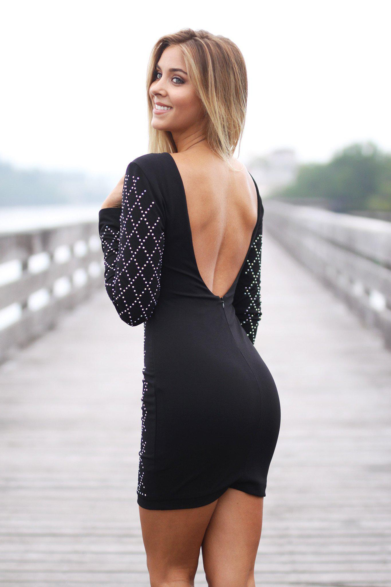 Black Iridescent Studded Short Dress with Open Back