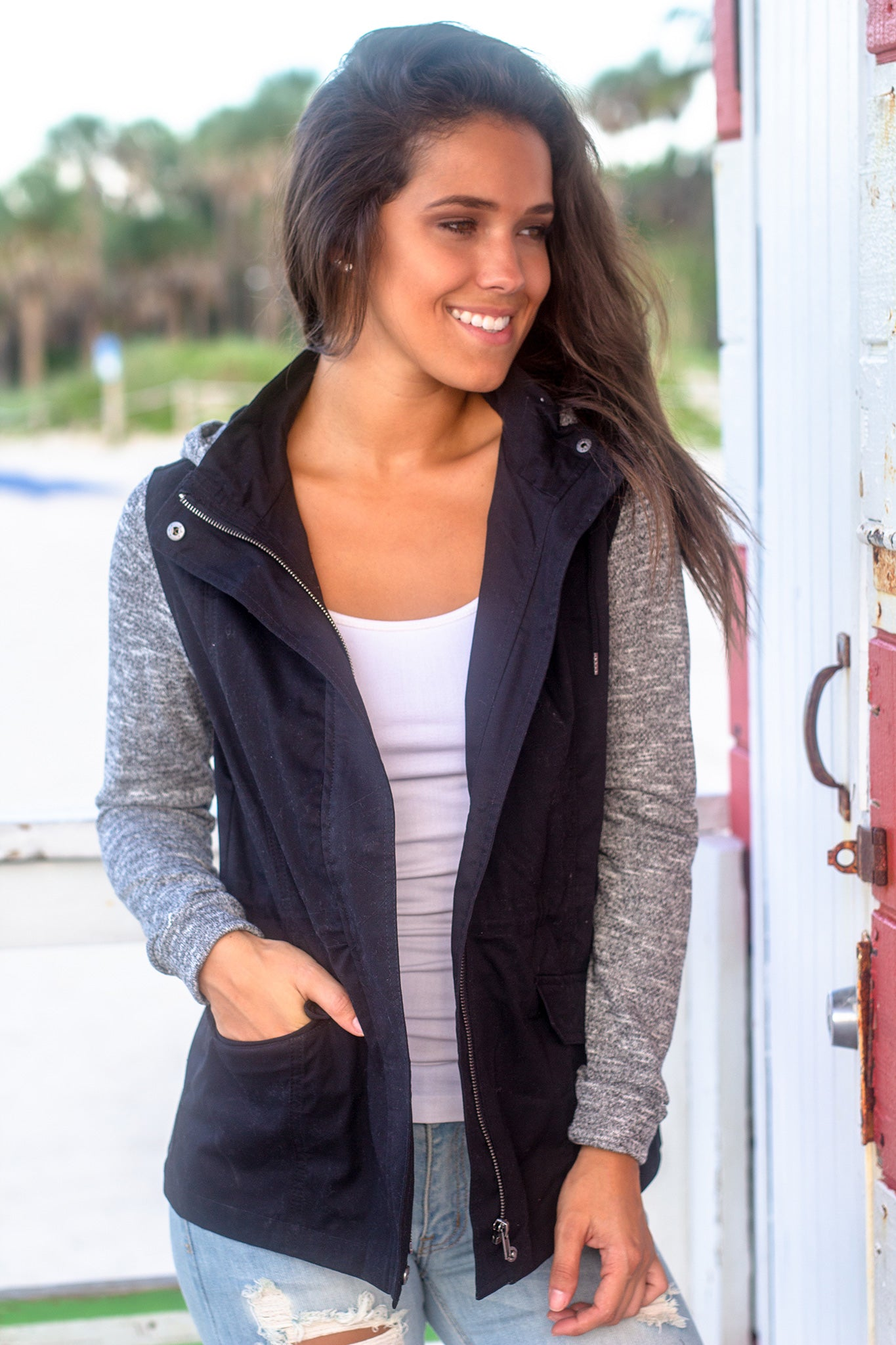 Black Jacket with Gray Hood and Sleeves