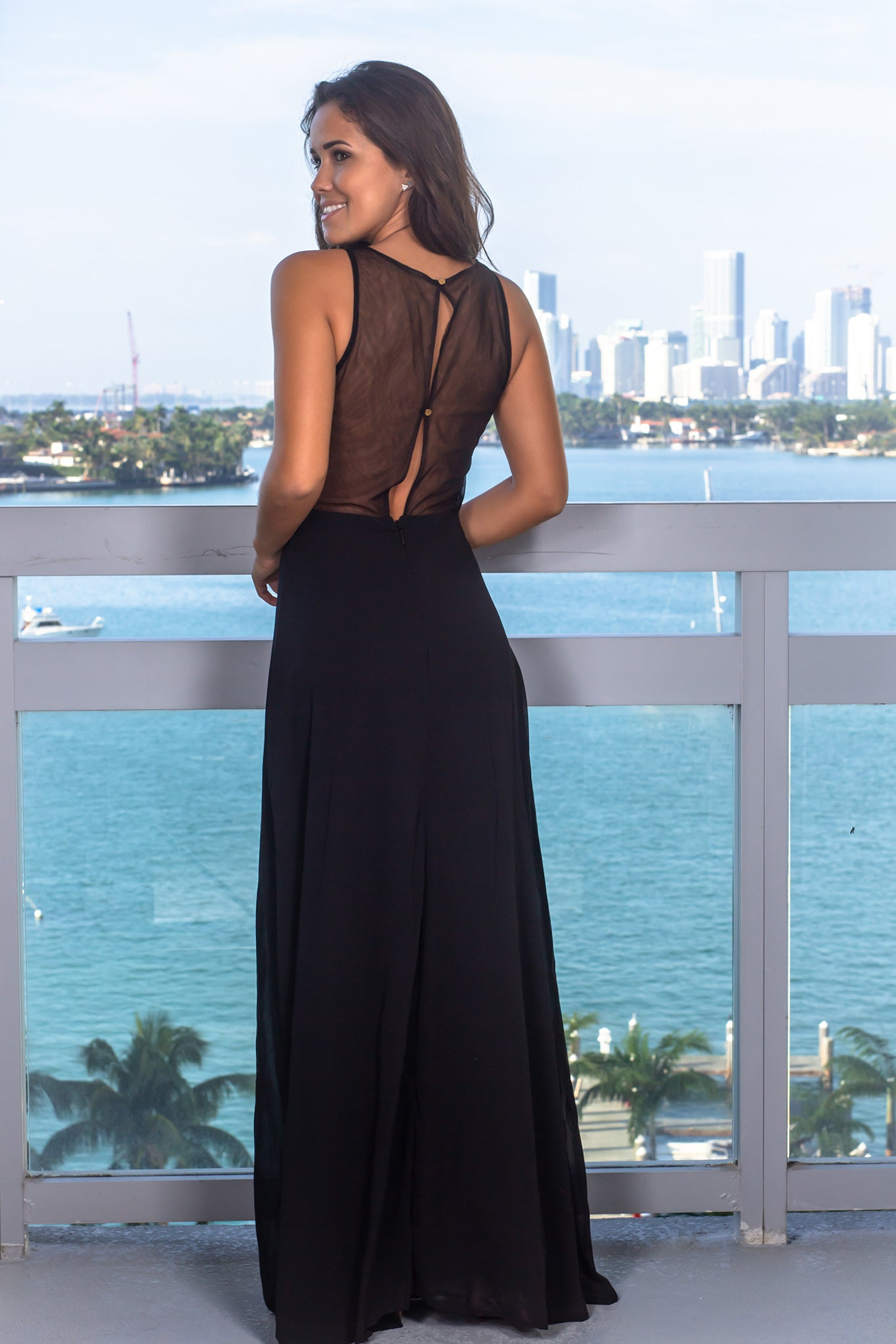 Black Jeweled Top Maxi Dress with Mesh Back