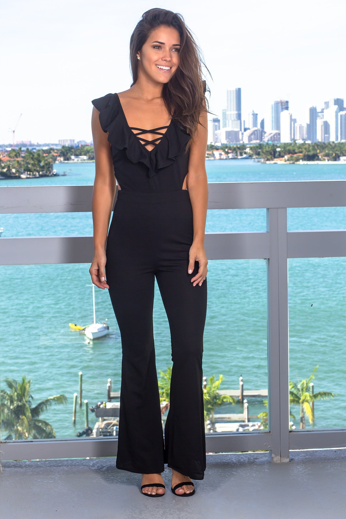 Black Jumpsuit with Cut Out Detail