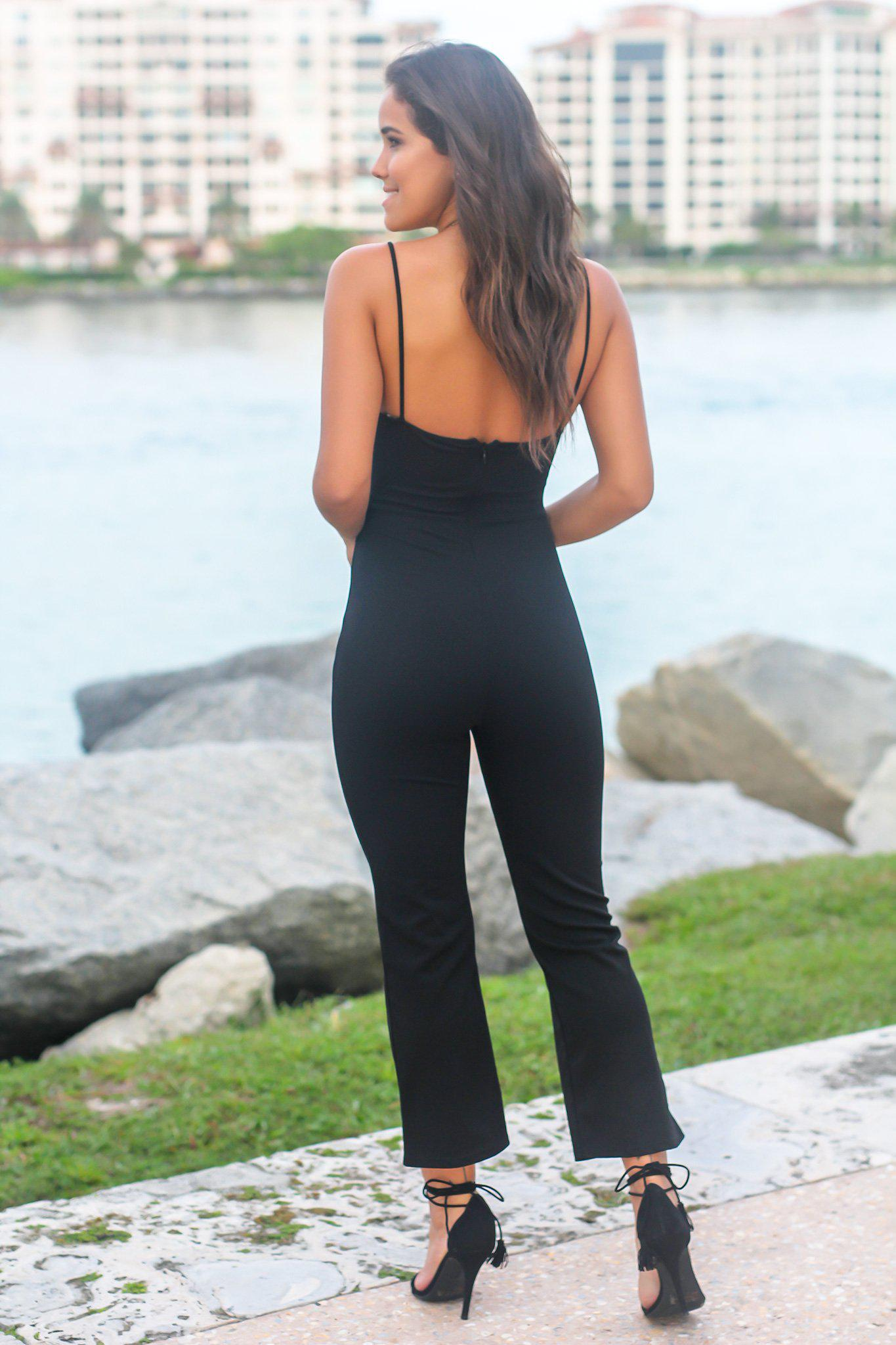 Black Jumpsuit with Front Cut Out