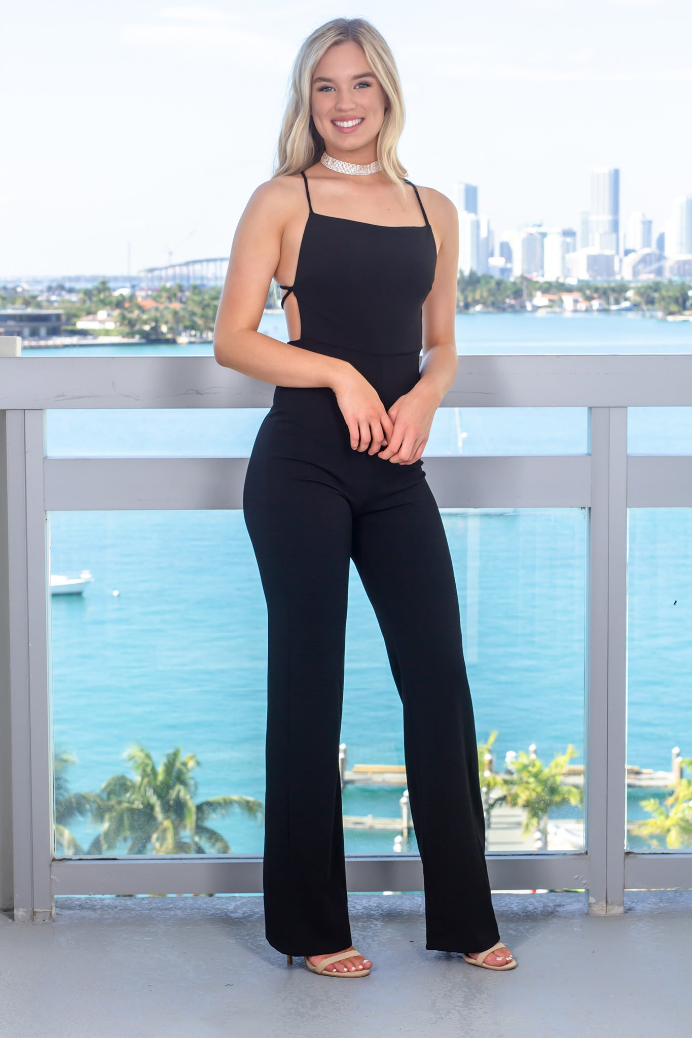 Black Jumpsuit with Open Back