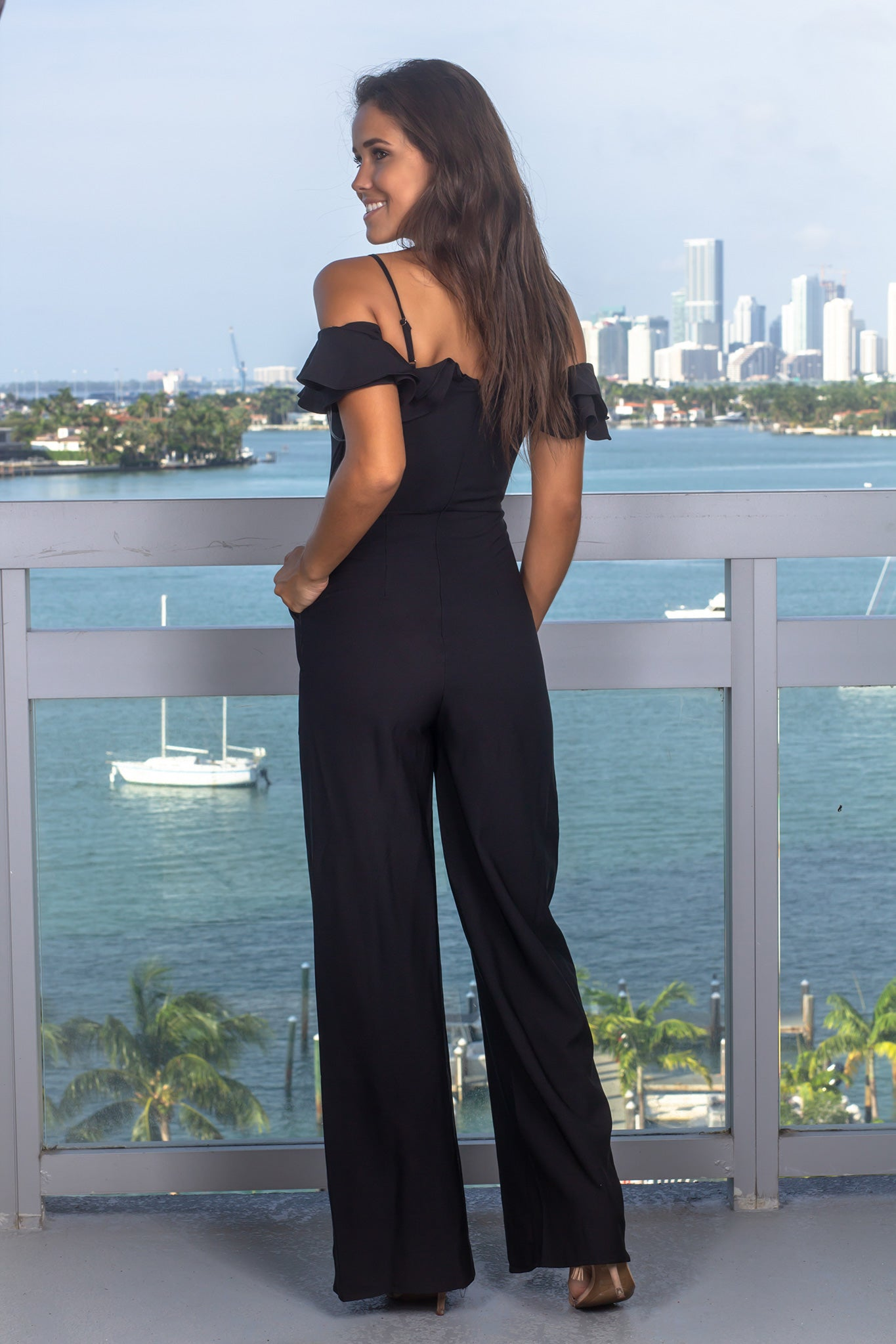 Black Jumpsuit with Ruffle Detail