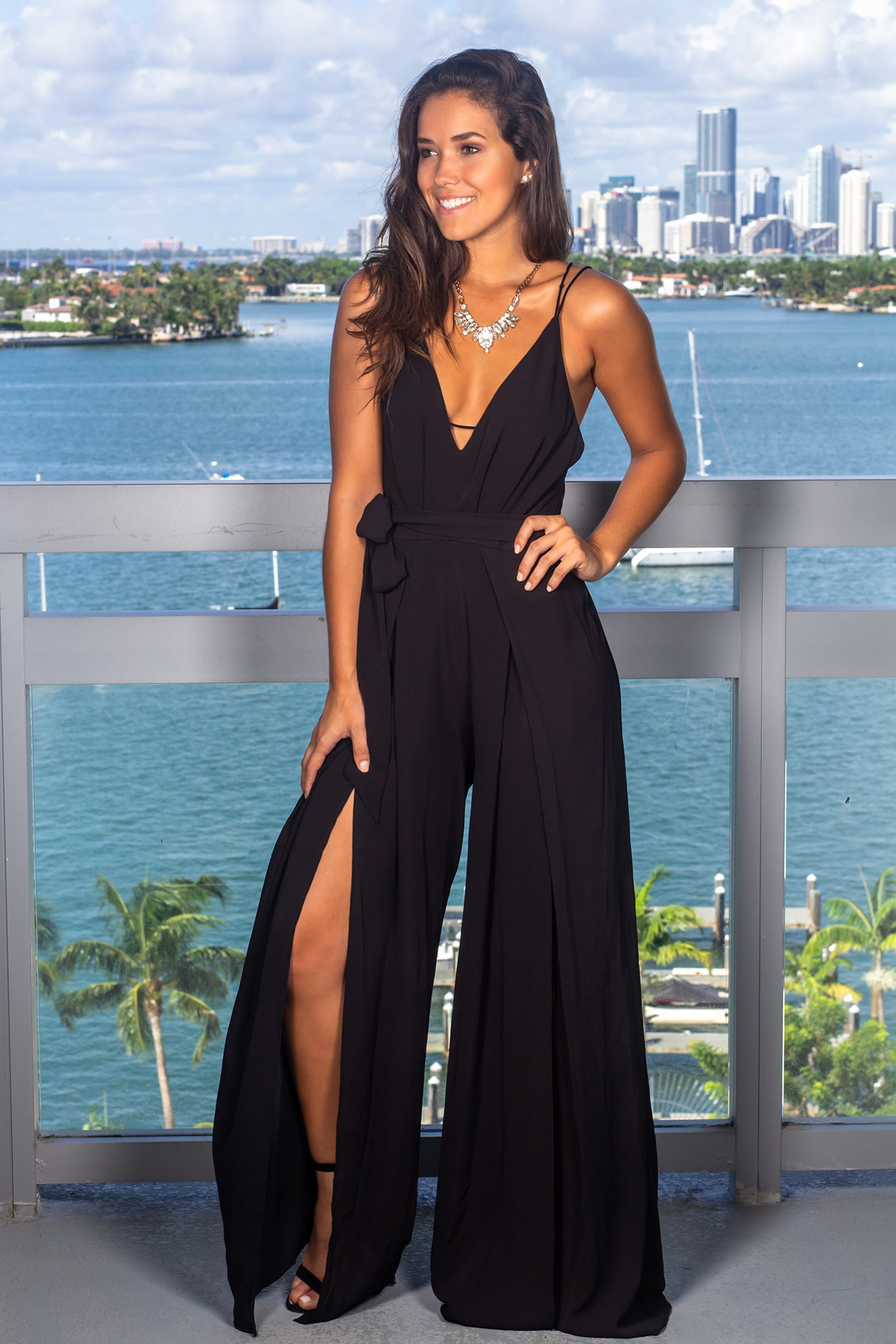 Black Jumpsuit with Side Slits