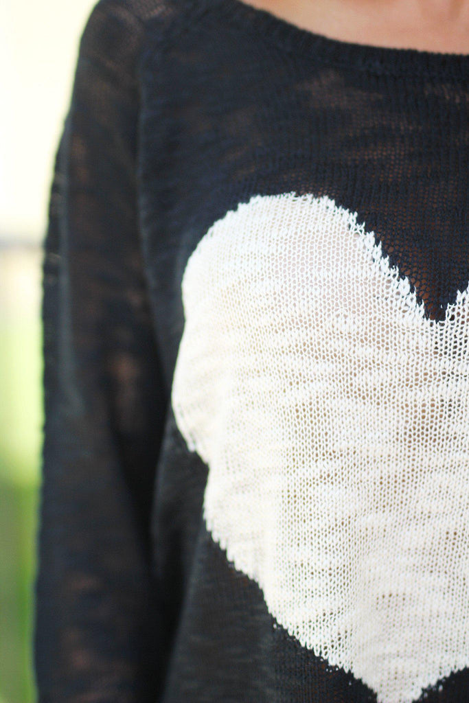 Black Knit Sweater with Heart