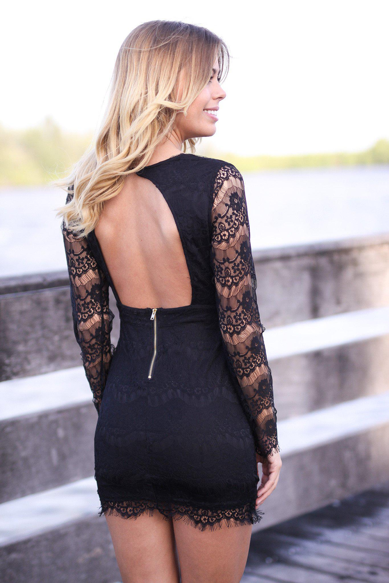 Black Lace Long Sleeve Dress with Open Back