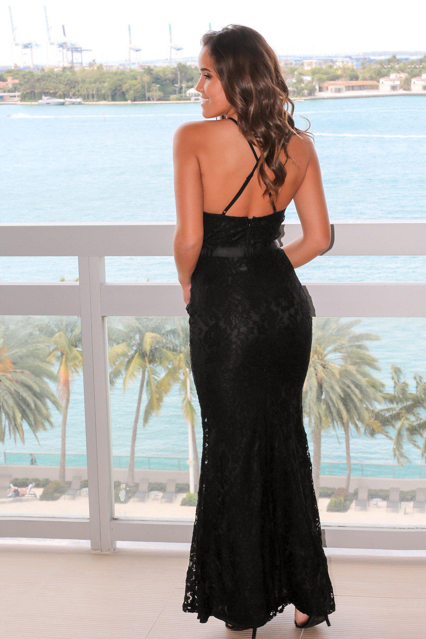 Black Lace Maxi Dress with Criss Cross Back