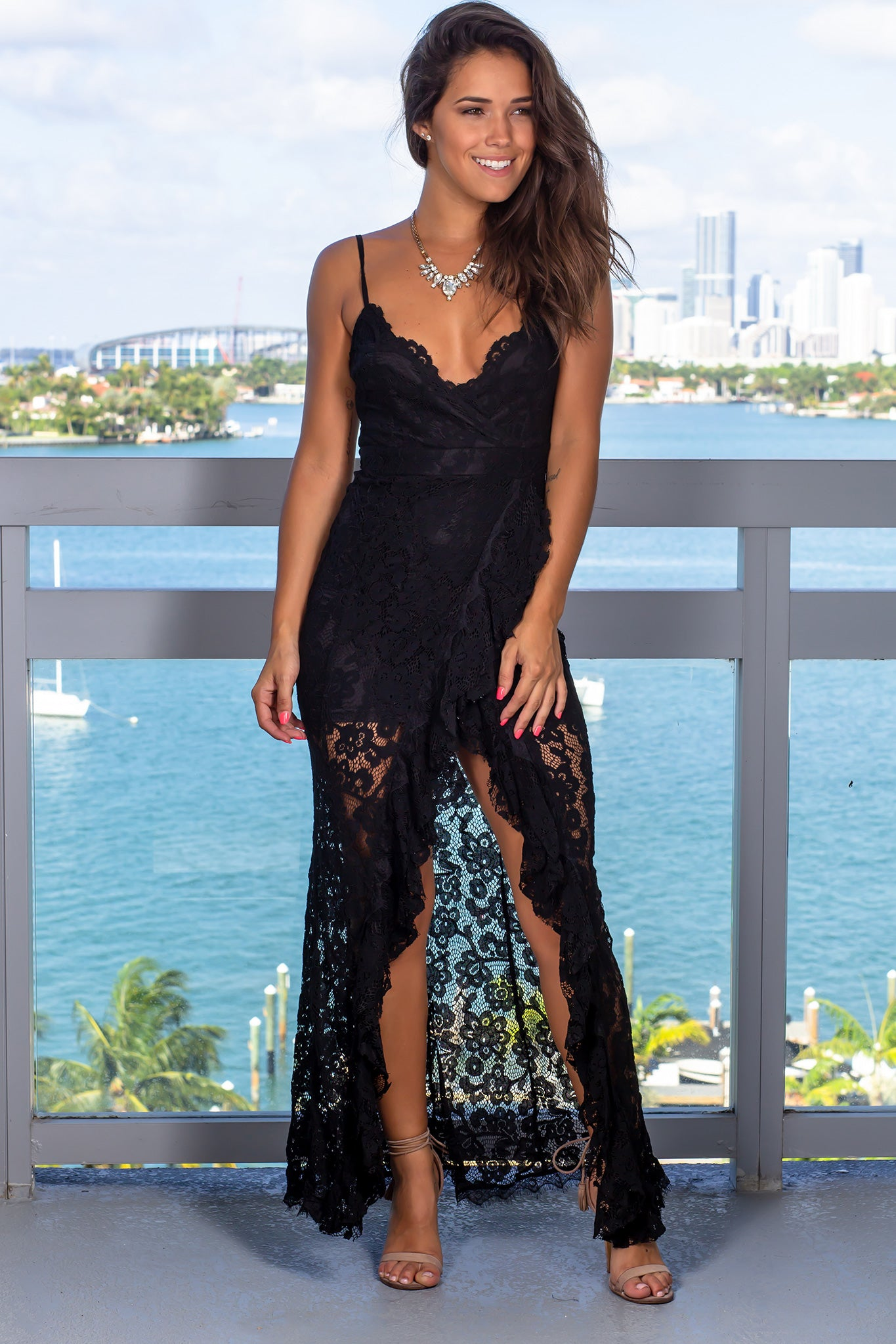 Black Lace Maxi Dress with Ruffle Detail