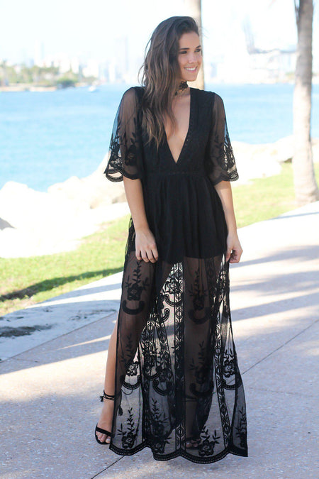 Black Lace Maxi Romper