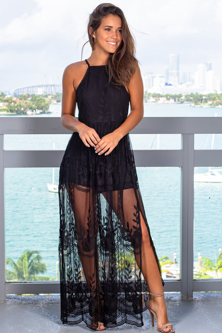 Black Lace Maxi Romper with Slits