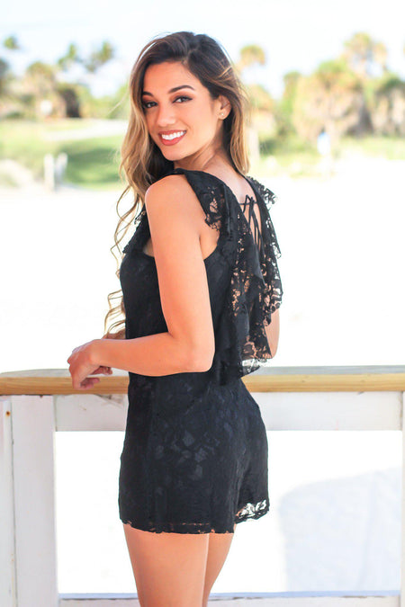 Black Lace Romper with Open Back