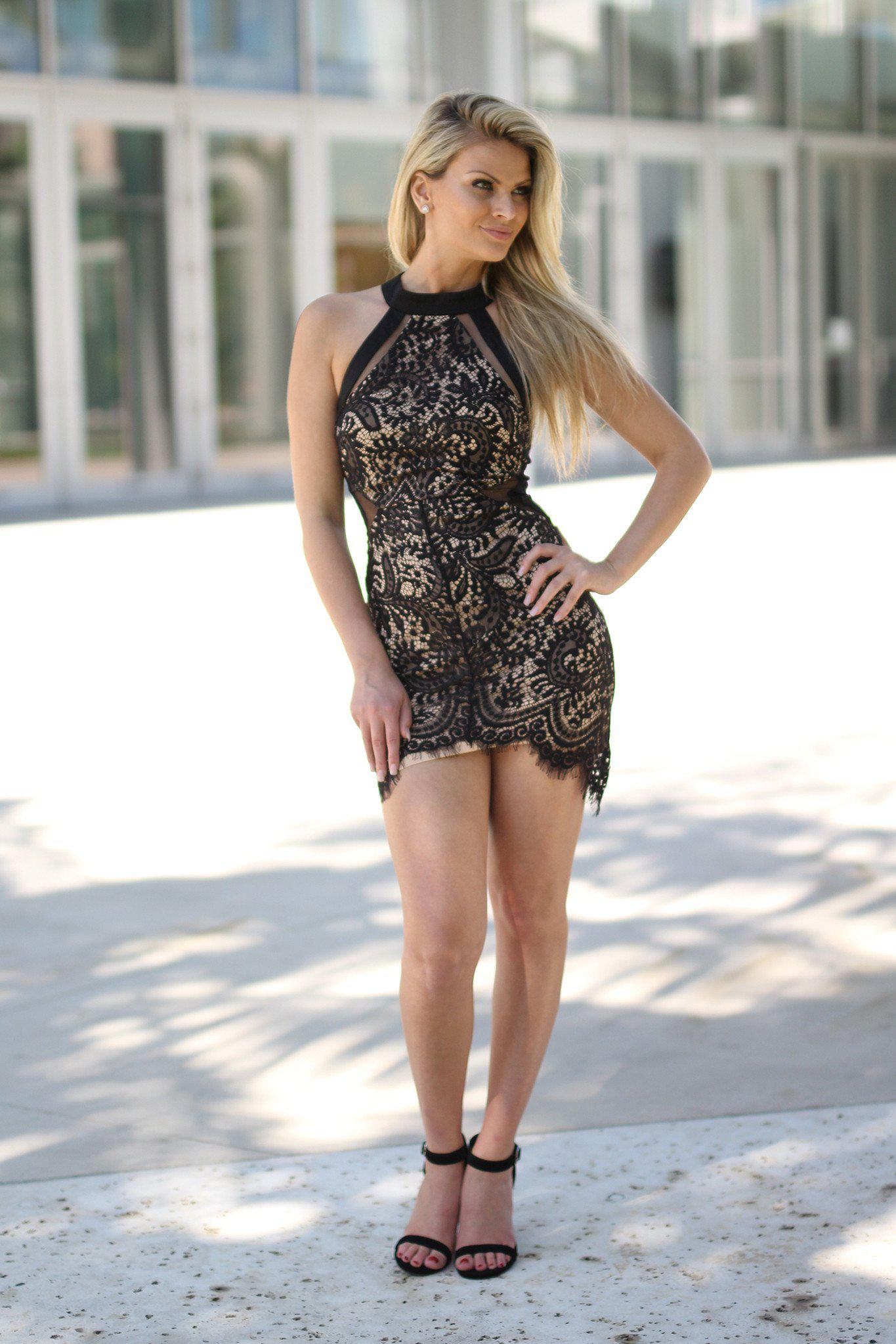 Black High Neck Lace Short Dress