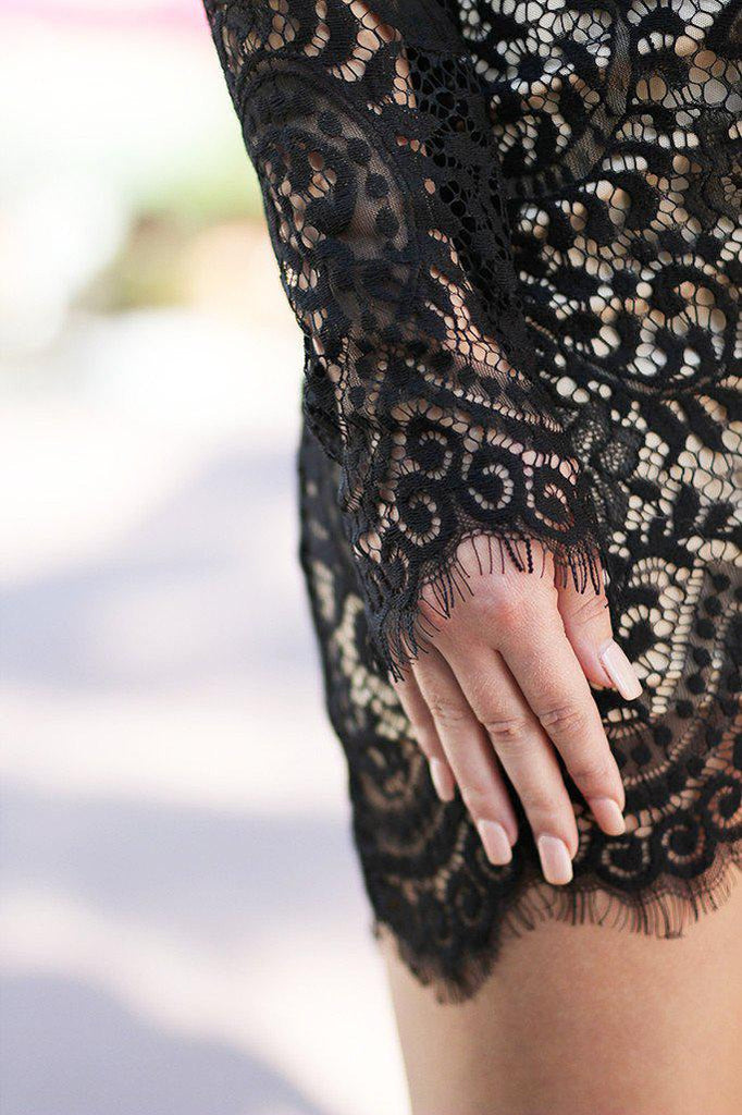 black lace long sleeve dress