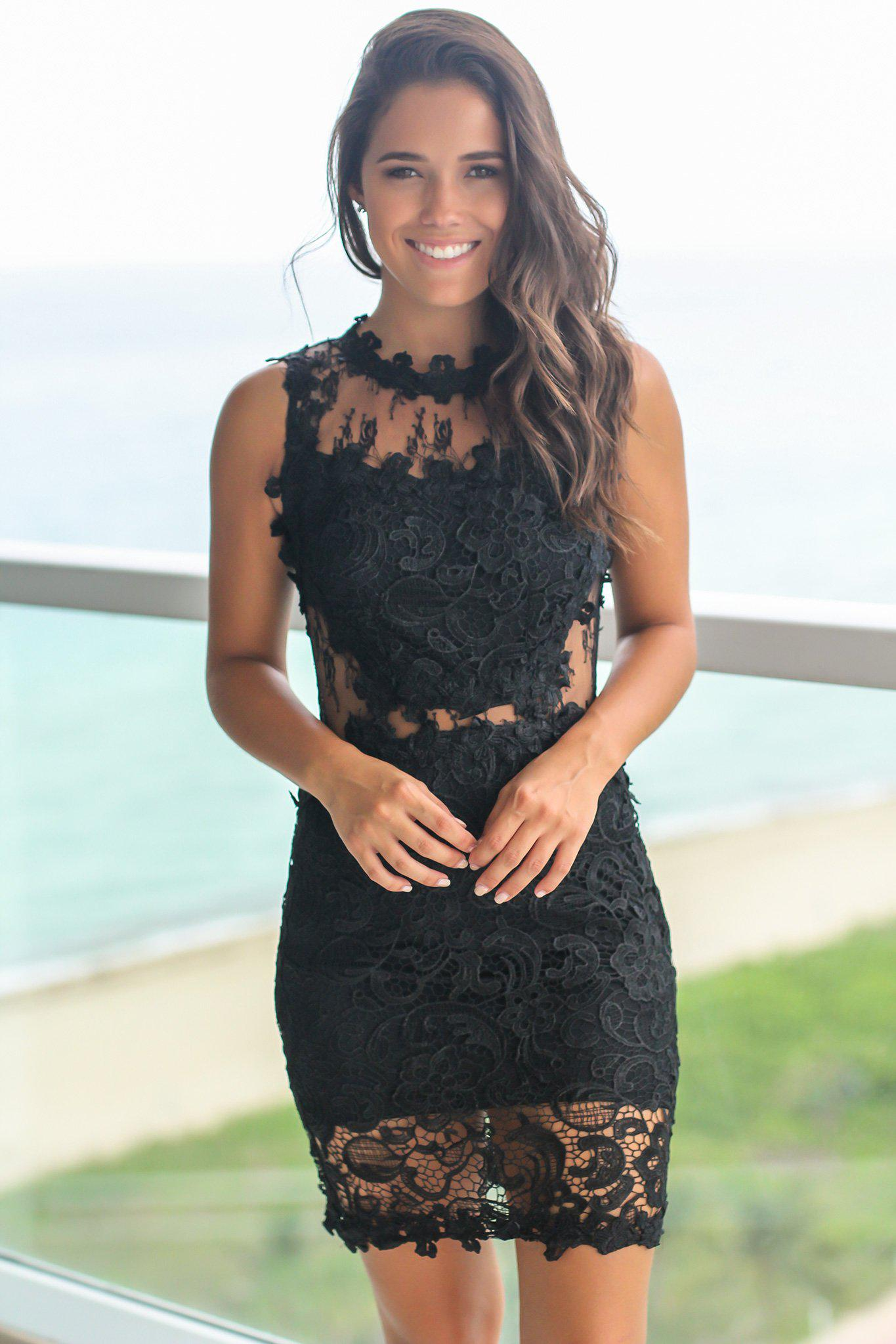 Black Lace Short Dress