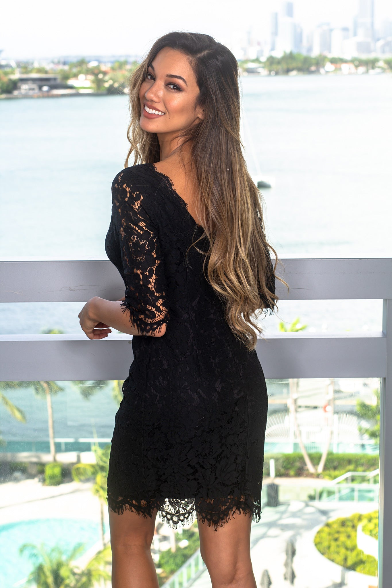 Black Lace Short Dress with 3/4 Sleeves