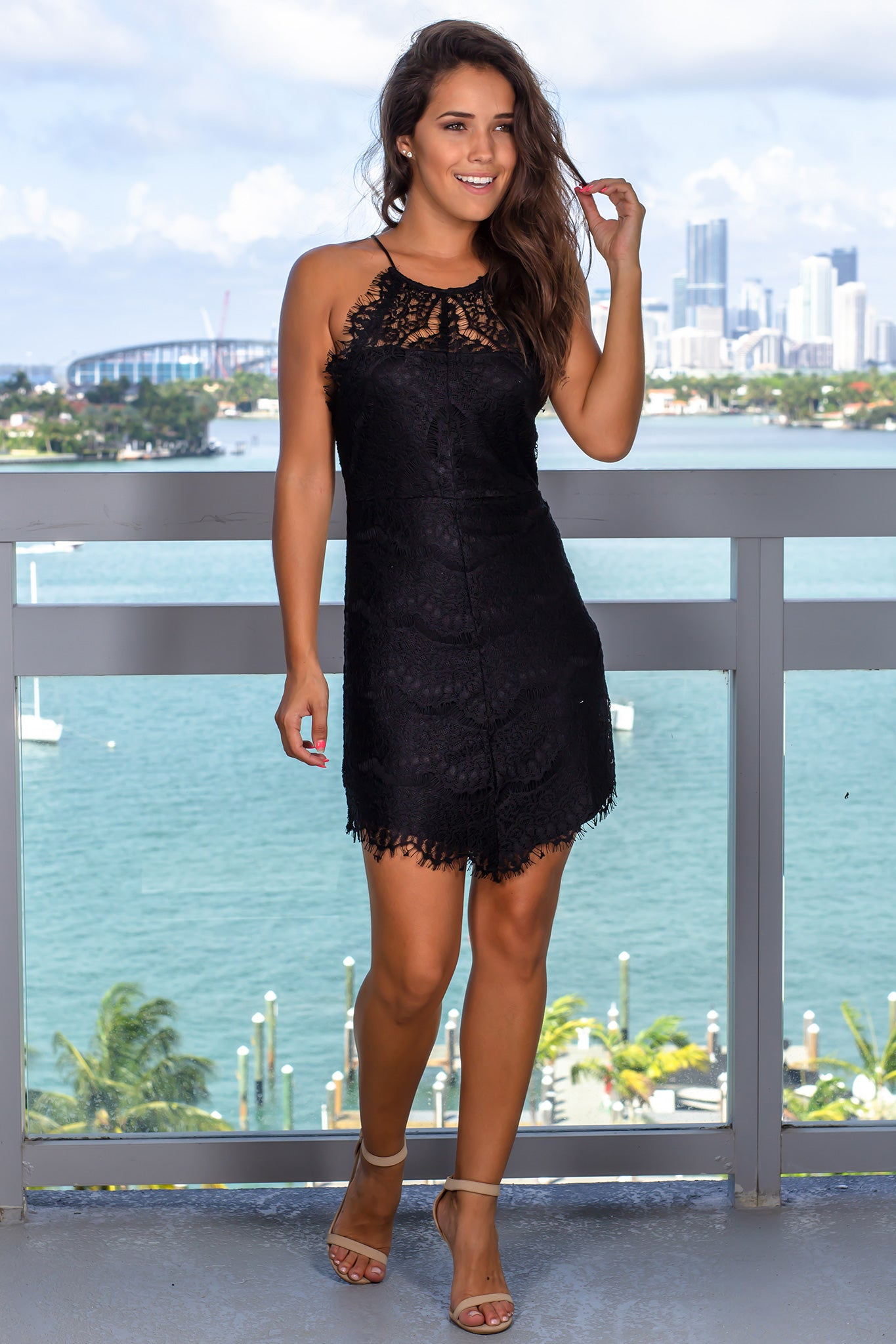 Black Lace Short Dress with Back Buttons