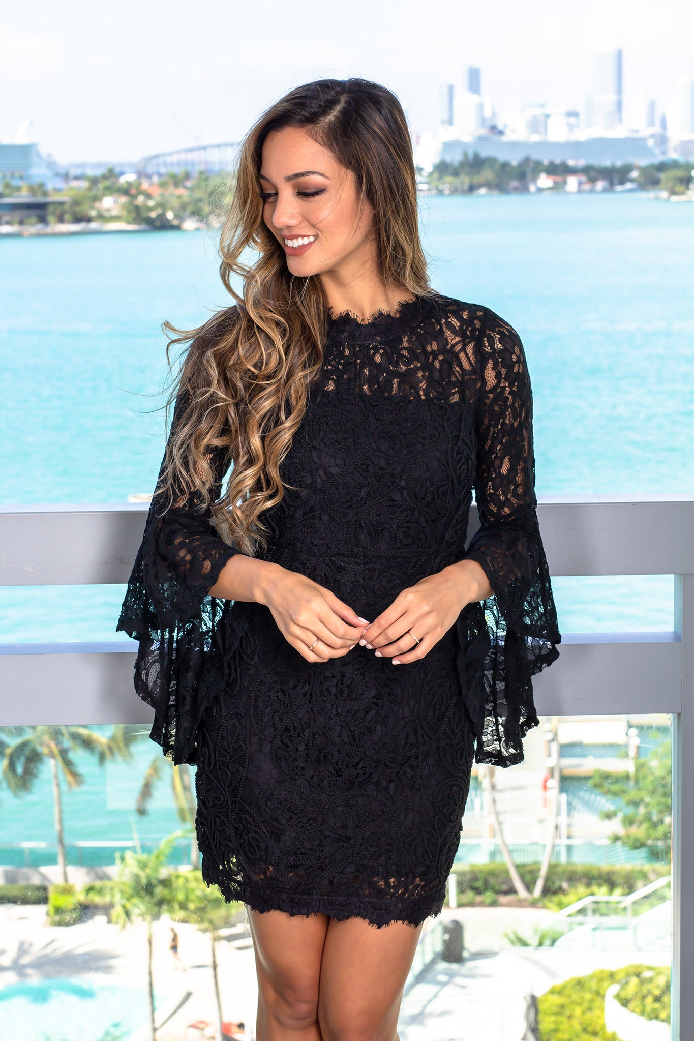 Black Lace Short Dress with Bell Sleeves