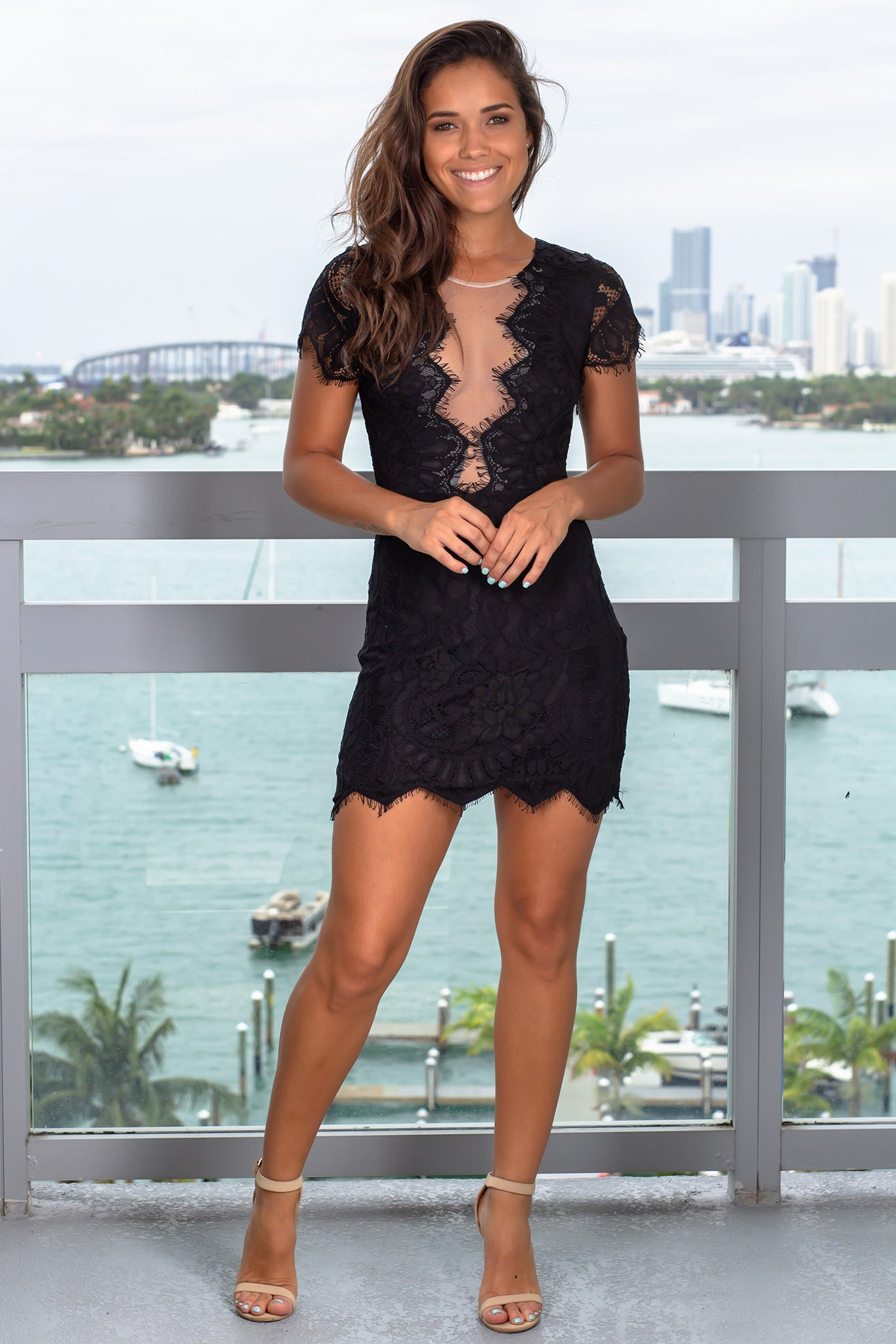 Black Lace Short Dress with Mesh Detail