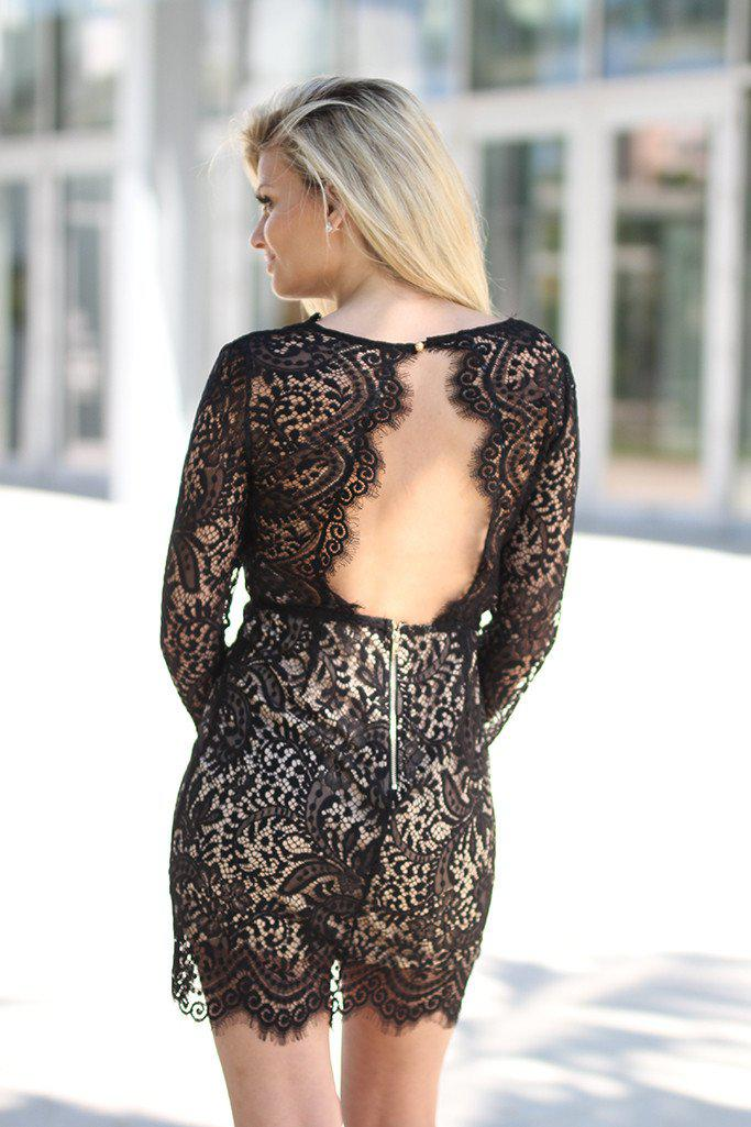 Black Lace Short Dress with Open Back
