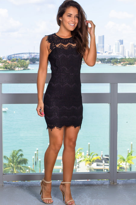 Black Lace Sleeveless Short Dress with Open Back