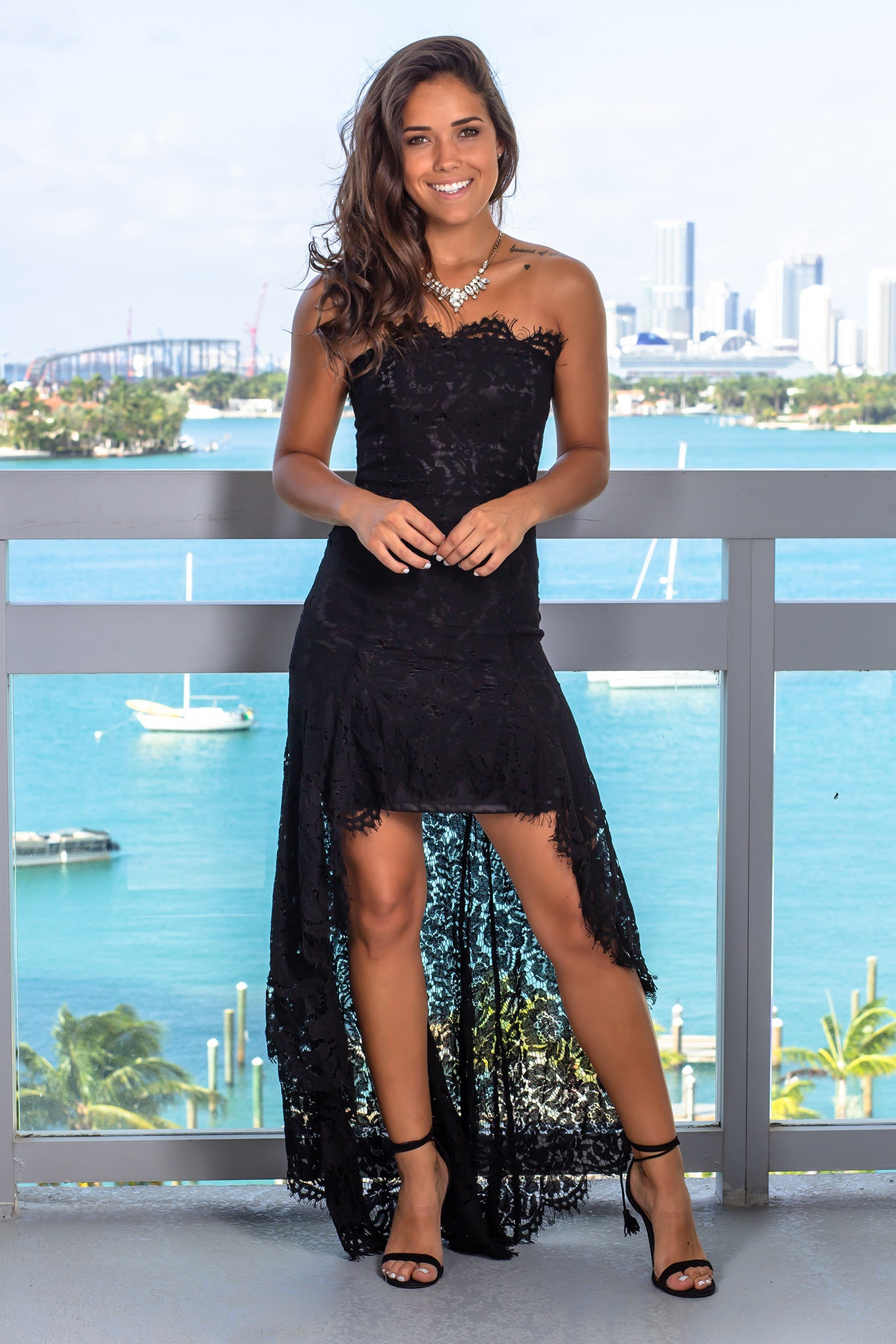 Black Lace Strapless High Low Dress