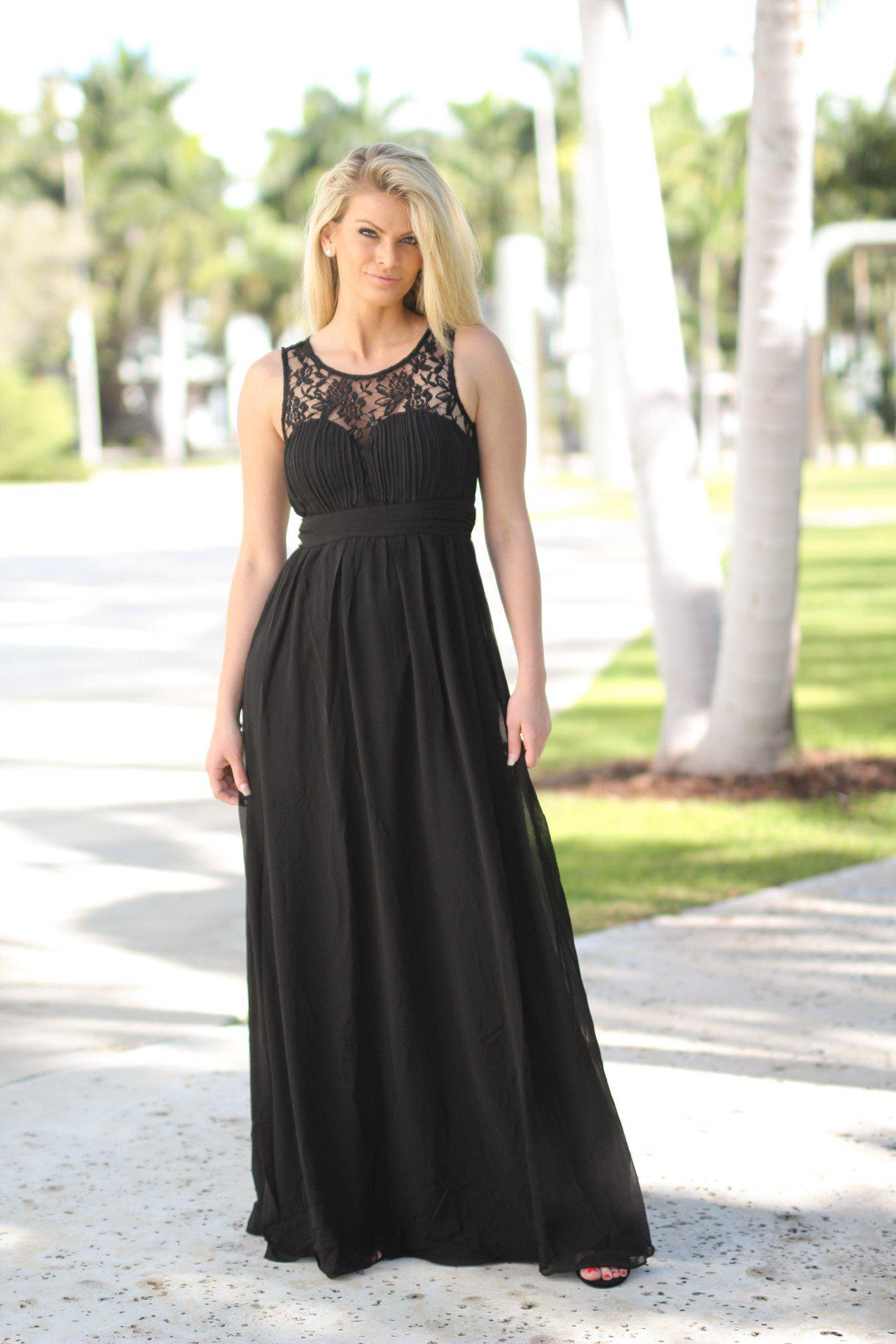 Black Lace Top Maxi Dress