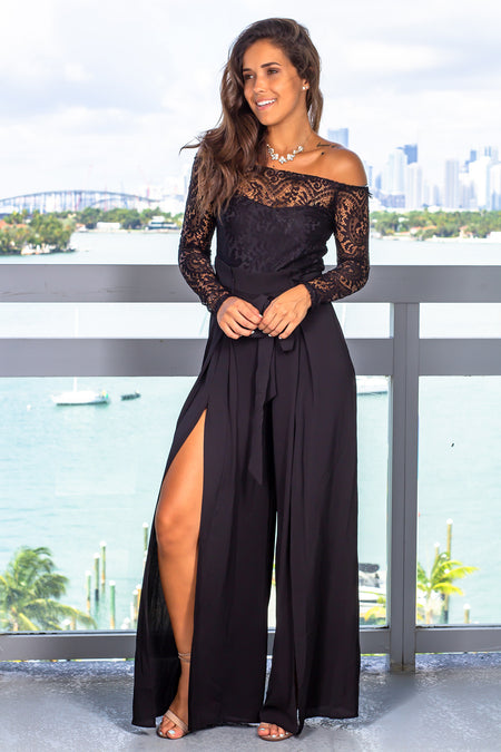 Black Lace Top Jumpsuit with Long Sleeve