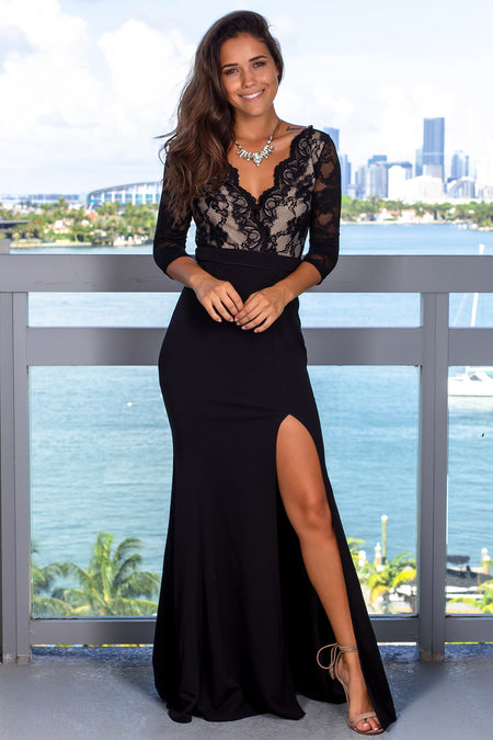 Black Lace Top Maxi Dress with 3/4 Sleeves