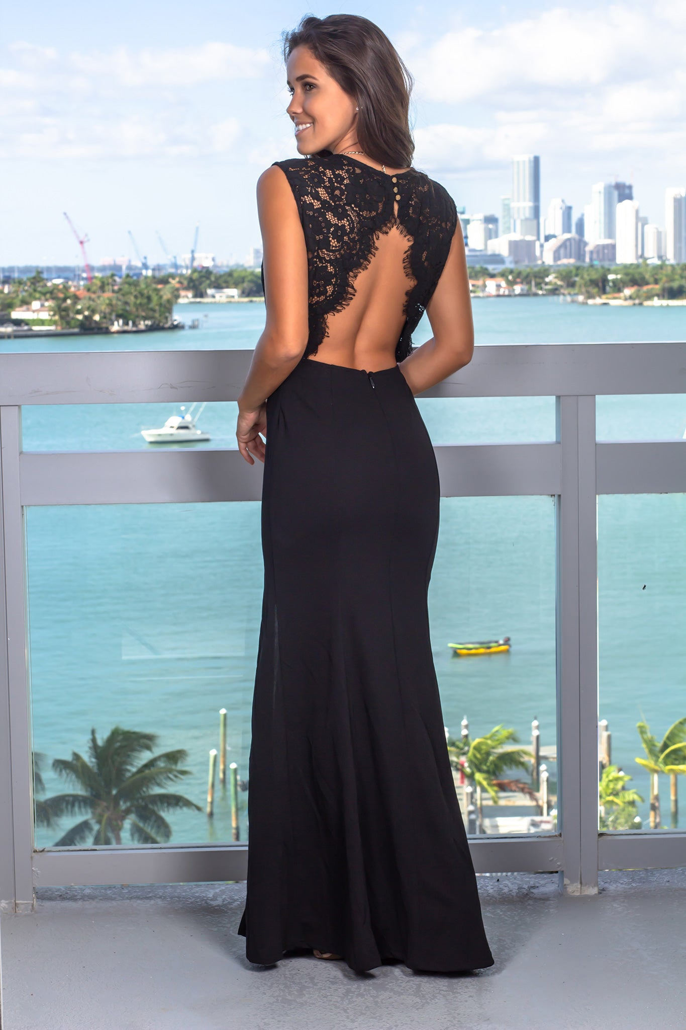 Black Lace Top Maxi Dress with Jewel Detail