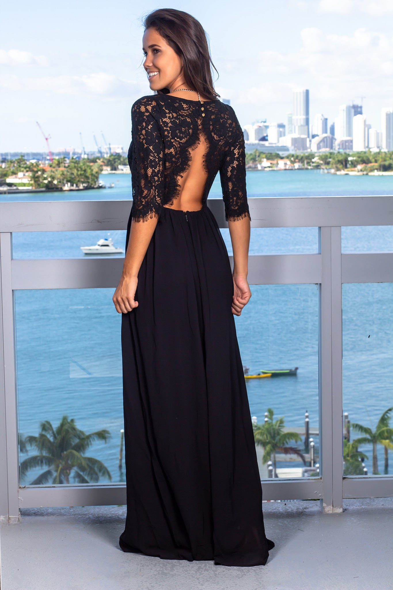 Black Lace Top Maxi Dress with Jeweled Detail