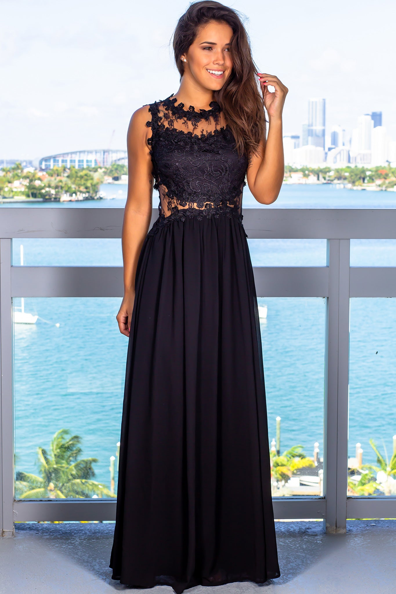 Black Lace Top Maxi Dress with Tulle Back