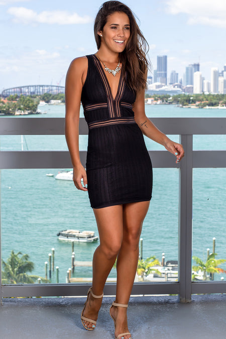 Black Lace V-Neck Short Dress