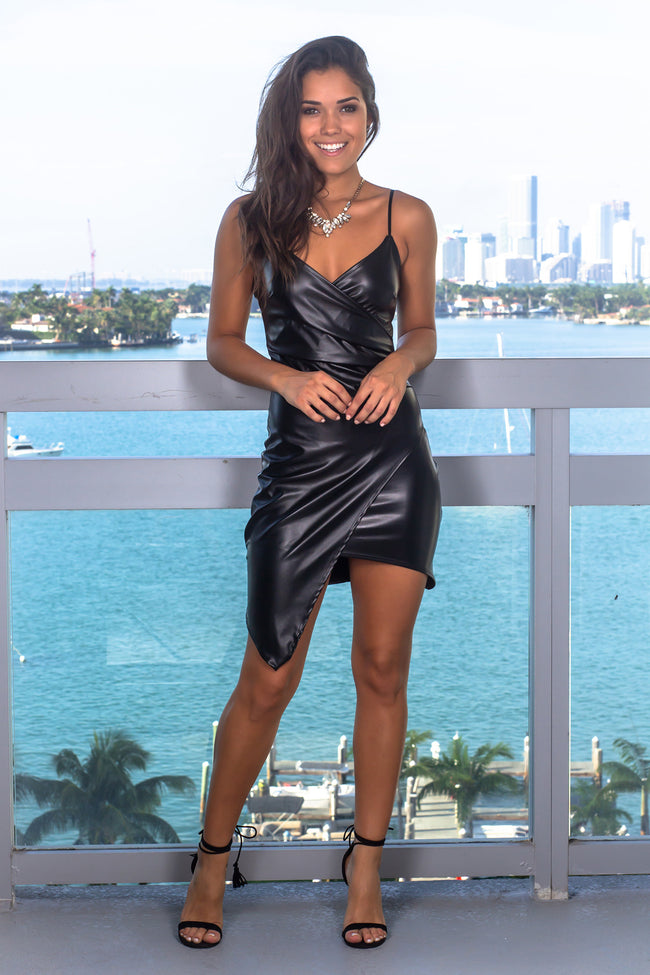 Black Leather Short Dress with Ruched Side