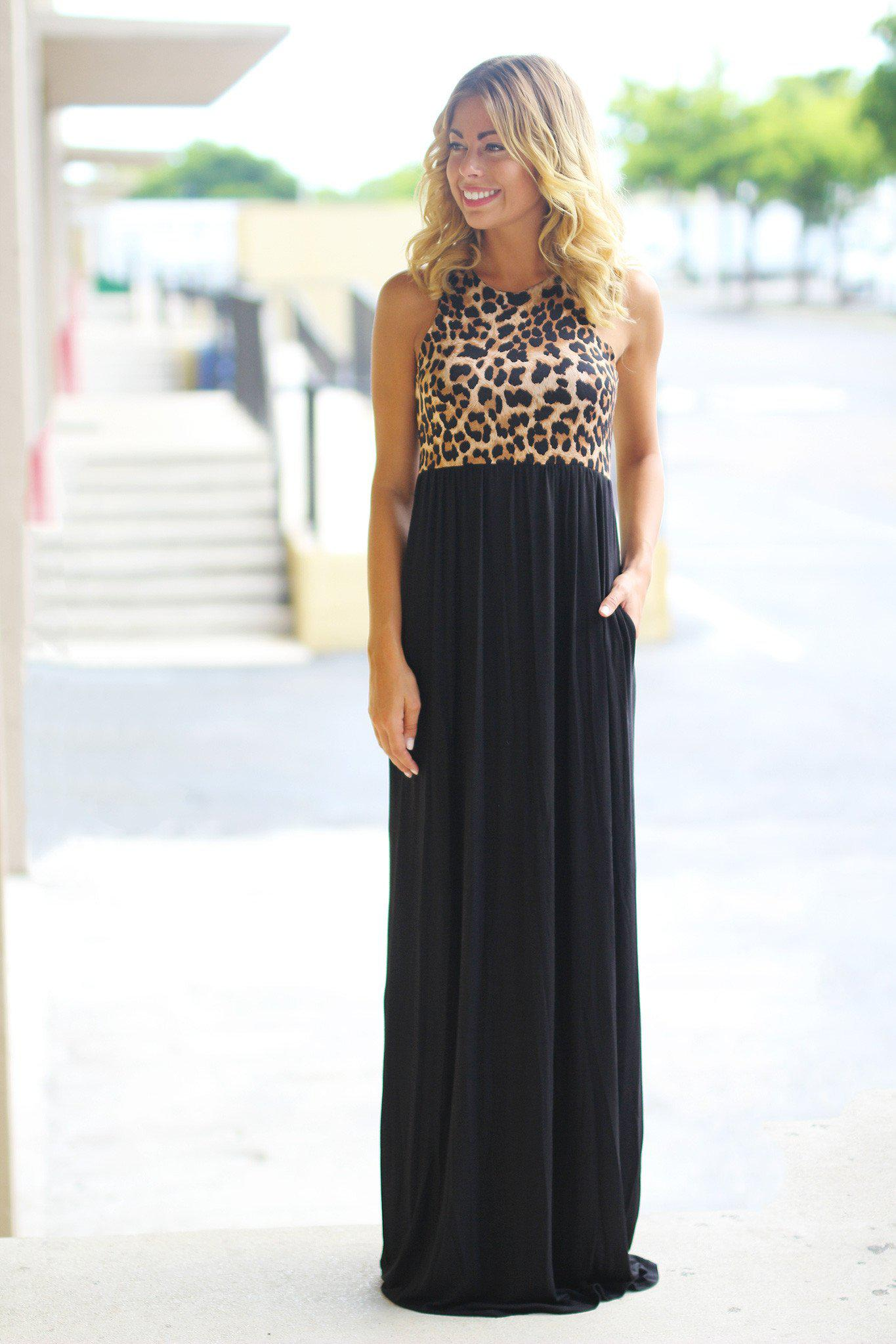 Black Leopard Maxi Dress with Pockets