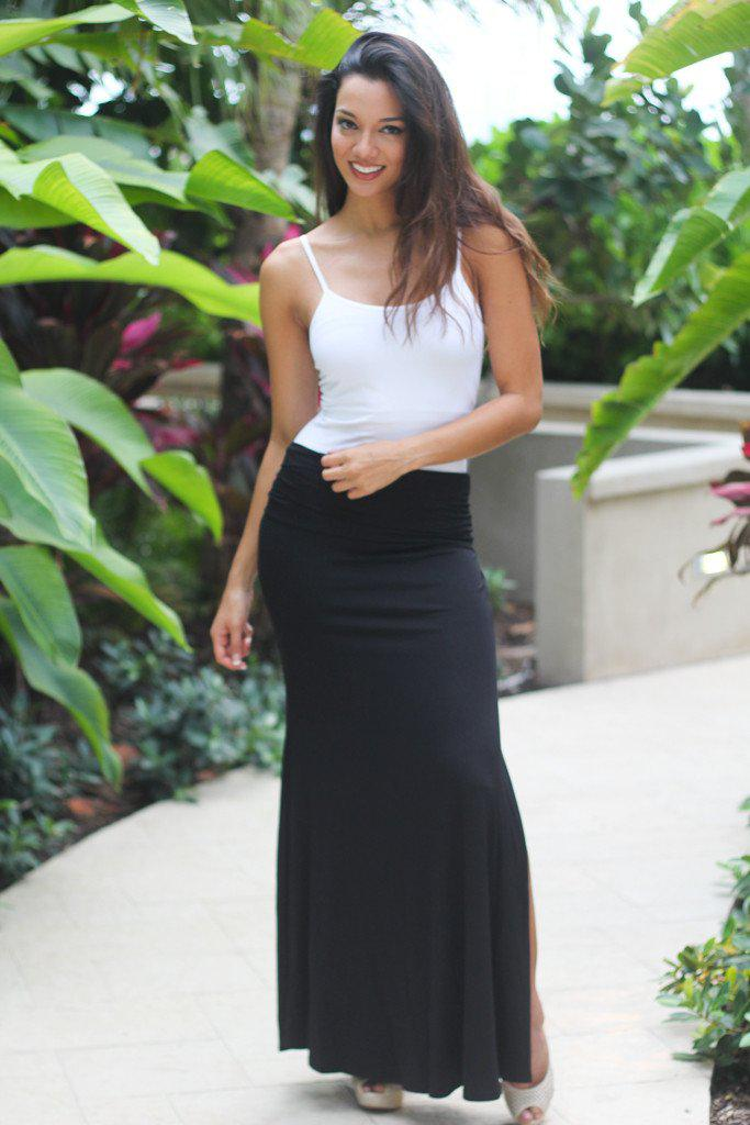 Black Maxi Skirt with Side Slit