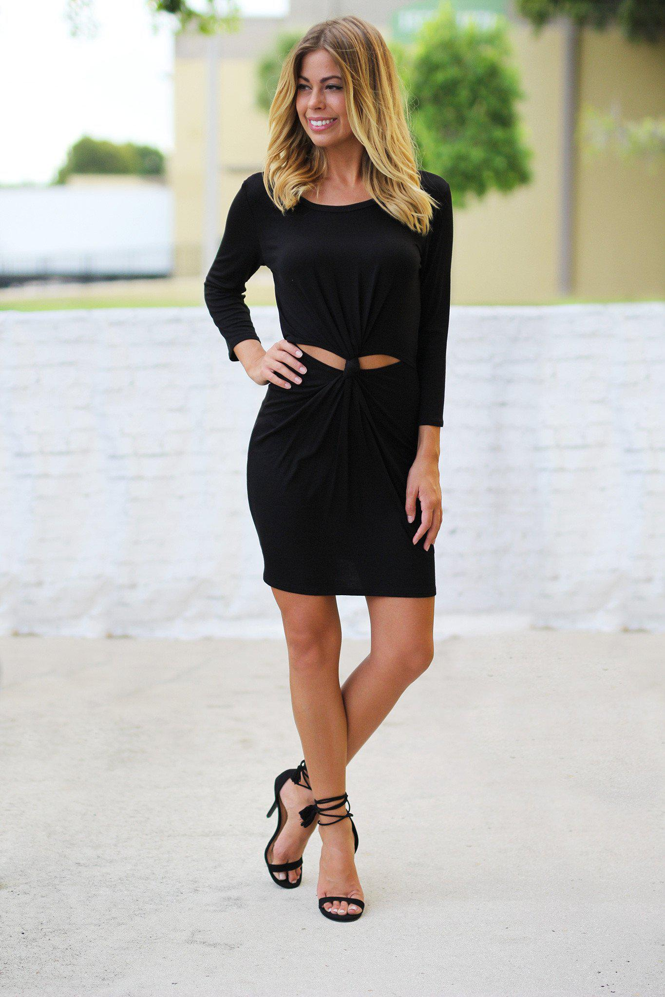 Black Long Sleeve Dress with Knot