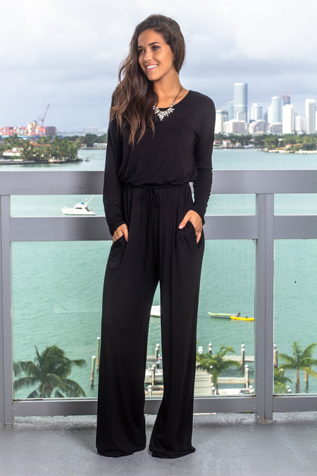 Black Long Sleeve Jumpsuit with Front Tie