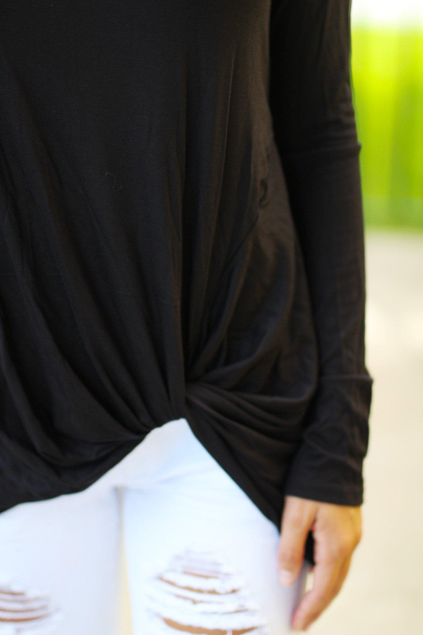 Black Long Sleeve Top With Knot