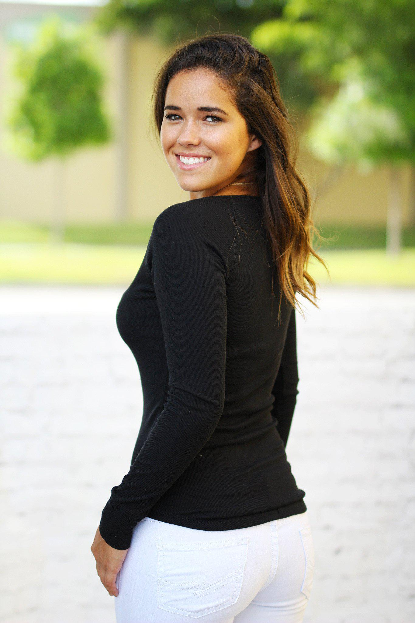 Black Ribbed Long Sleeve Top with Buttons