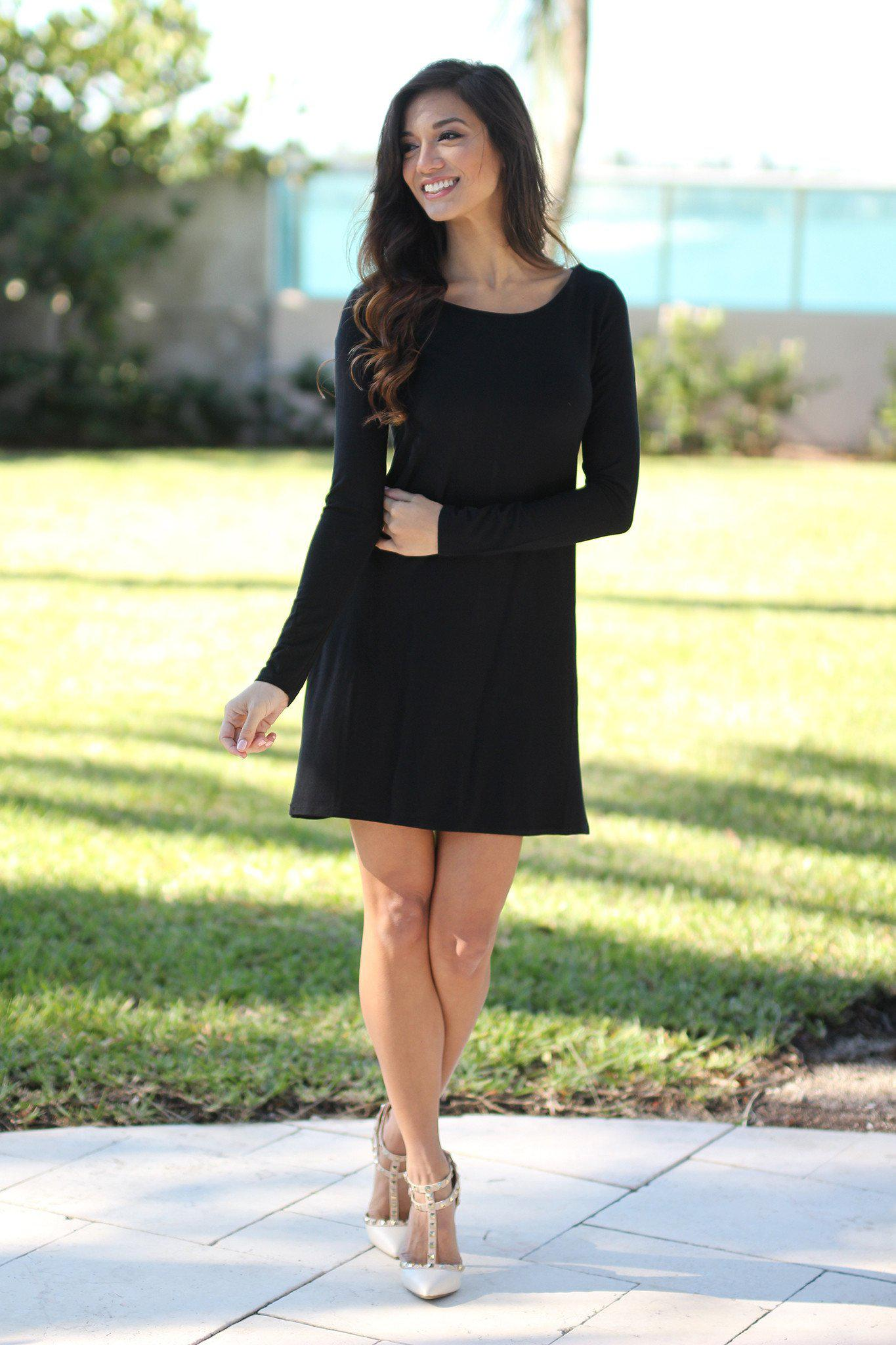 Black Long Sleeve Tunic Dress