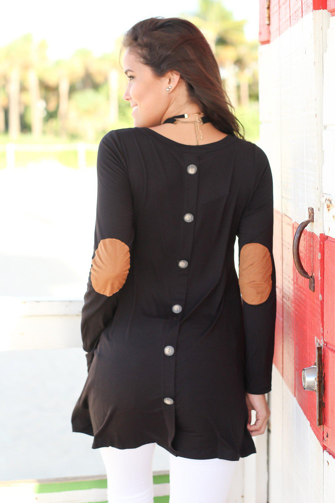 Black Long Sleeve Tunic with Elbow Patches
