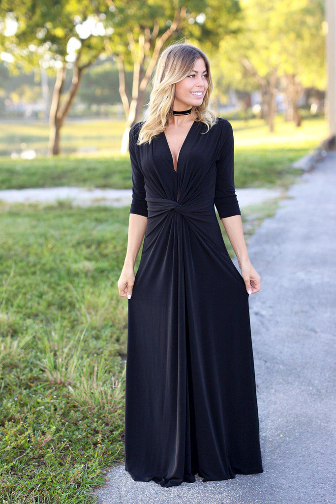 black maxi dress with knot