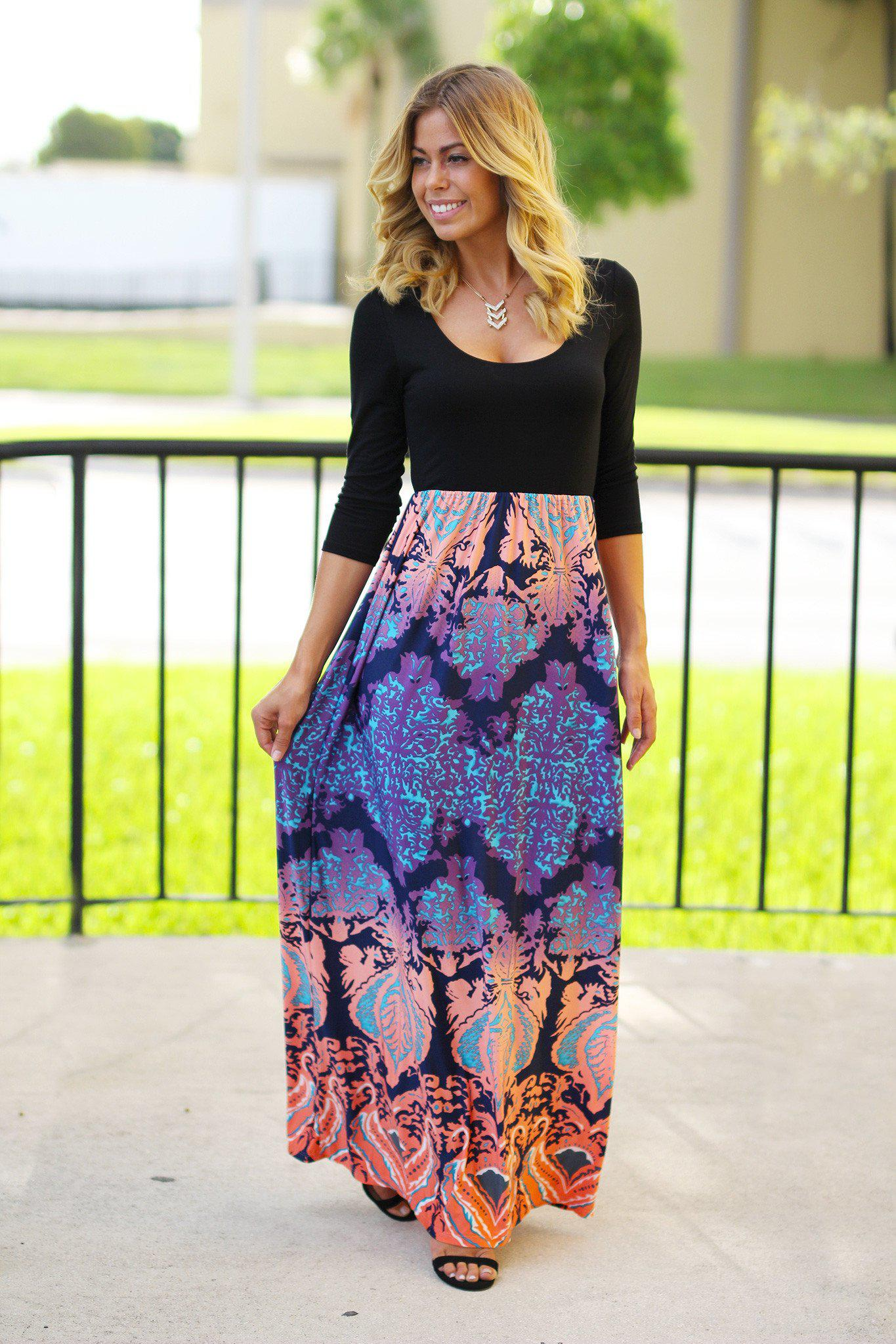 Black And Purple Maxi Dress With Multi Color Printed Bottom