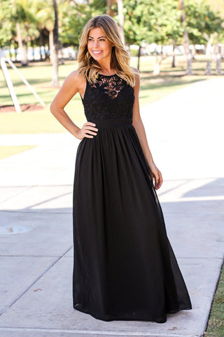 Black Crochet Maxi Dress with Open Back