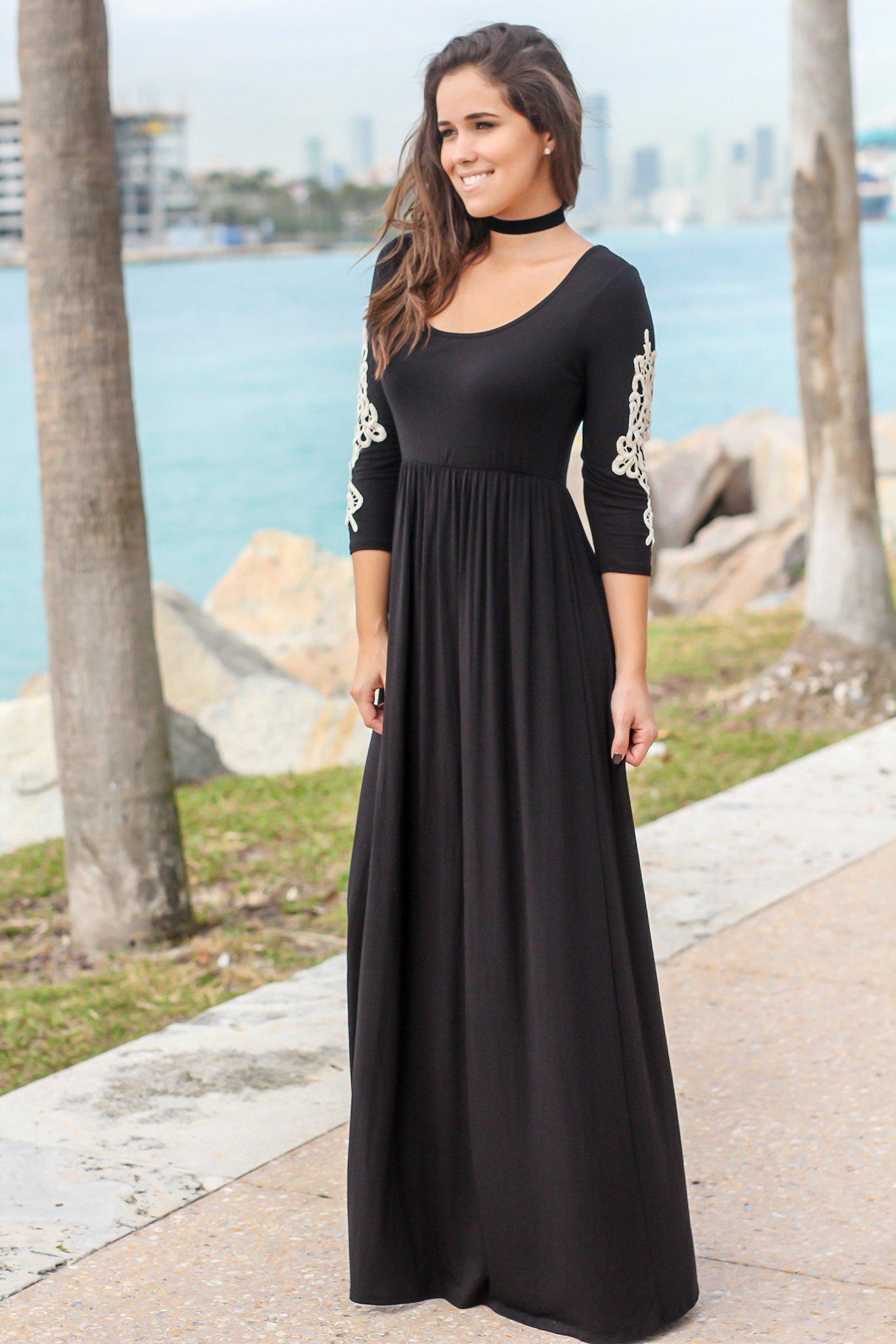 Black Maxi Dress with 3/4 Sleeves and Crochet Detail