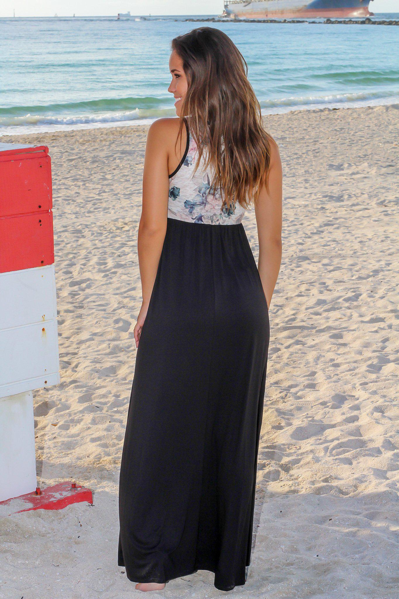 Black Maxi Dress with Cream Floral Top