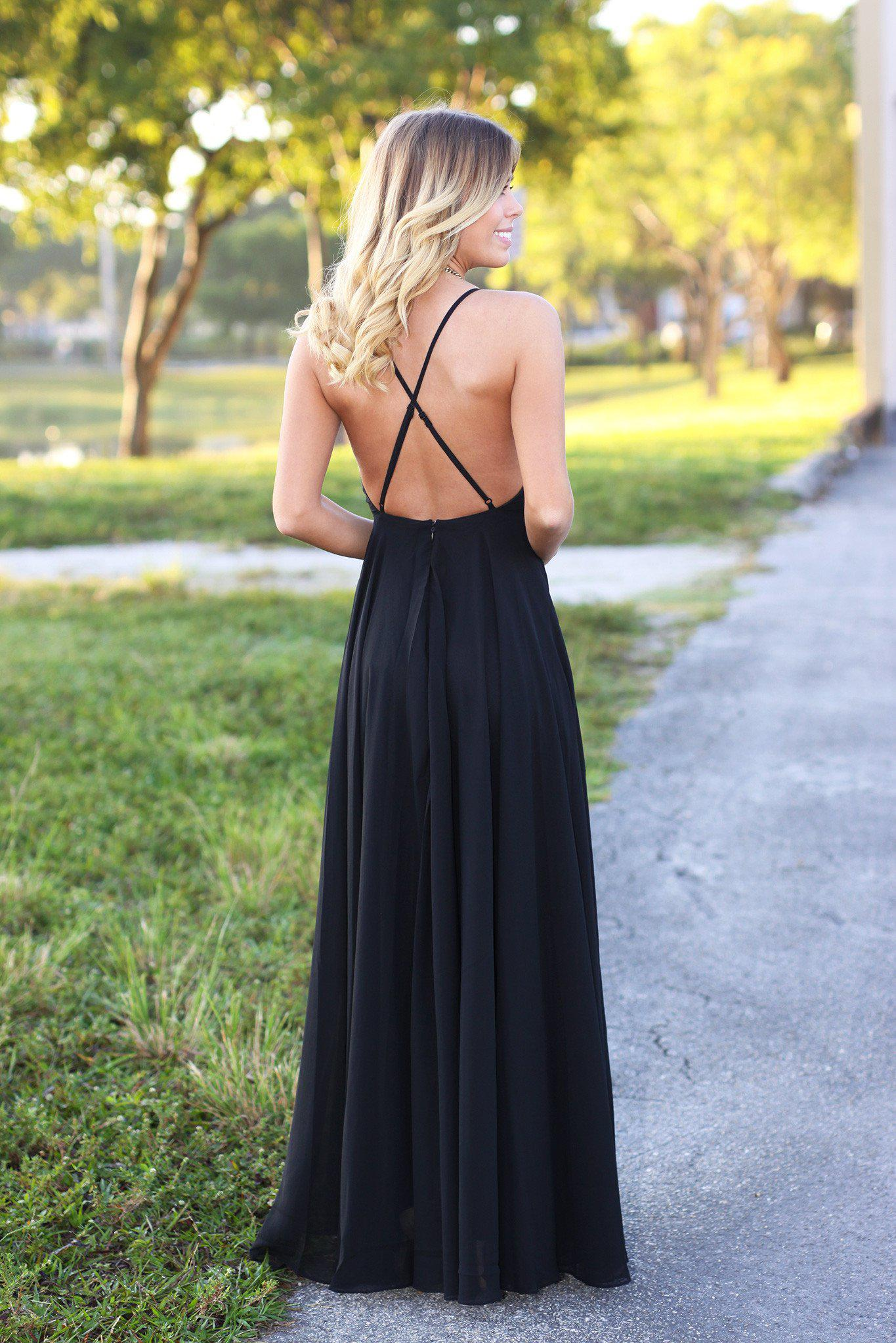 Black Maxi Dress with Criss Cross Back
